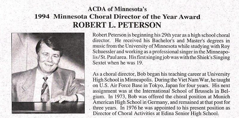 Bob Peterson Choir Director Award 1994